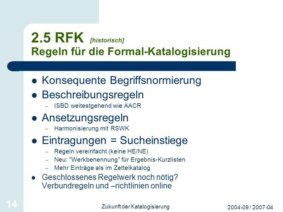 2.5 RFK [historisch] Regeln für die Formal-Katalogisierung